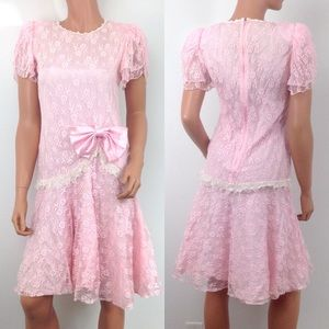 VTG 80s Pink lace drop waist prom party dress NG38